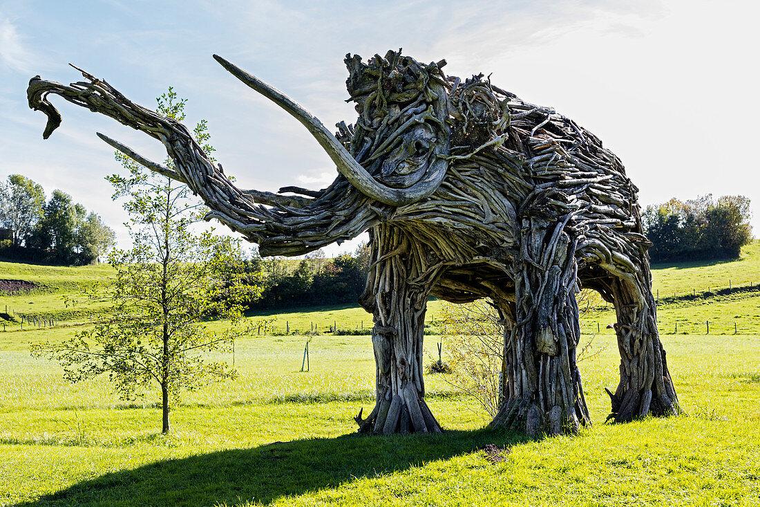 Mammoths on Westerbach, Ratzinger Höhe adventure trail, Rimsting, Bavaria, Germany