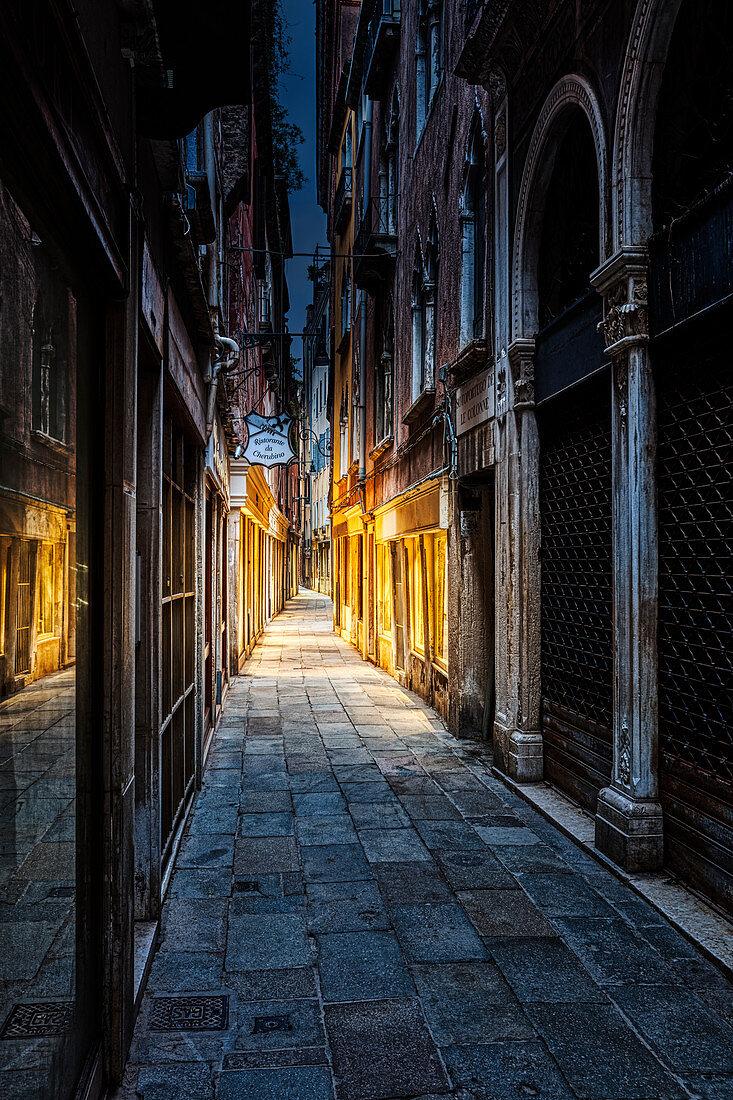 Calle Barcaroli in the morning in Venice, Veneto, Italy