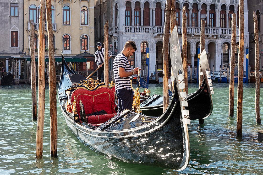 Godeln in the Grand Canal in Venice, Veneto, Italy
