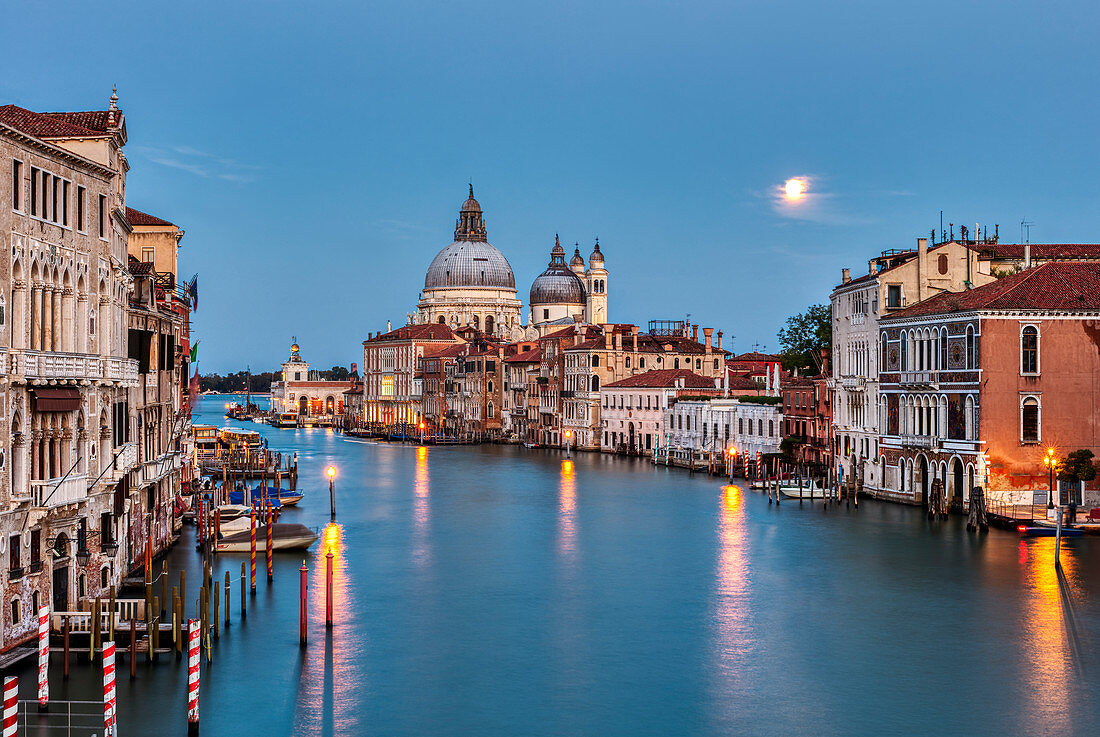 Grand Canal and Santa Maria della Salute at sunset in Venice, Veneto, Italy