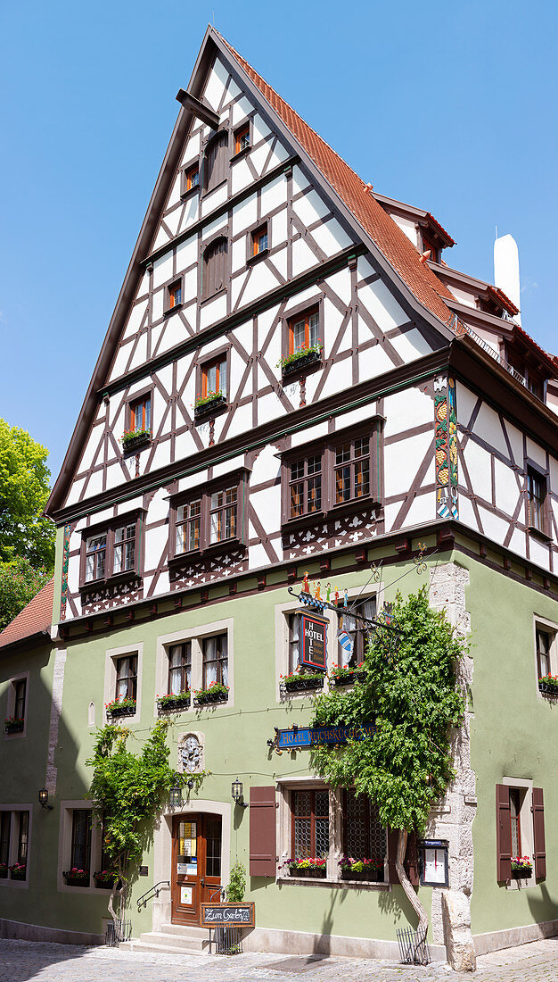 Kirchplatz 8 half-timbered house in Rothenburg ob der Tauber, Middle Franconia, Bavaria, Germany