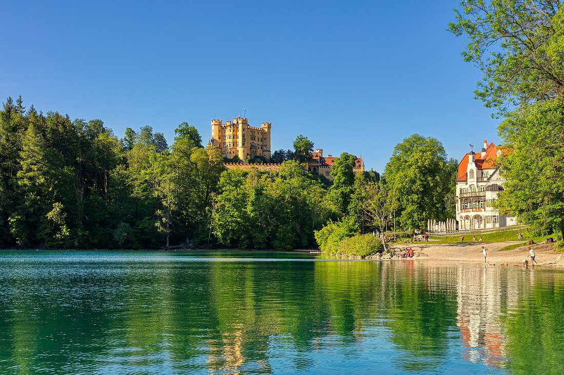 Hohenschwangau Castle on Schwansee, Bavarian Allgäu, Bavaria, Germany