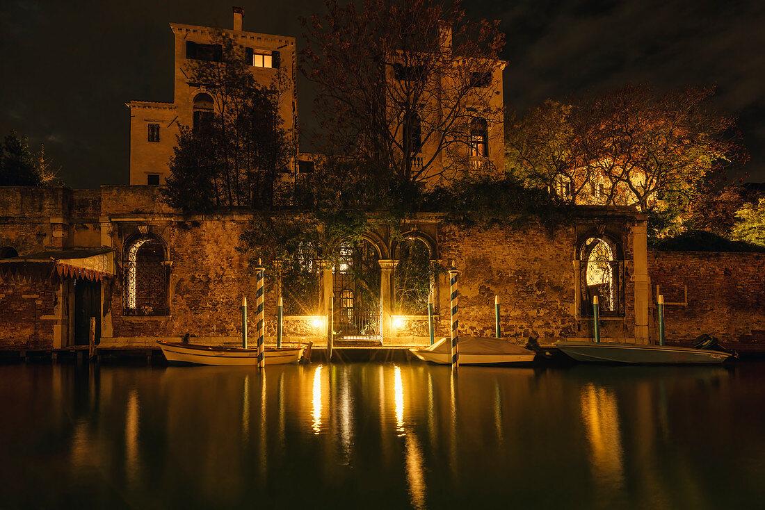 In Venice at night, Veneto, Italy, Europe
