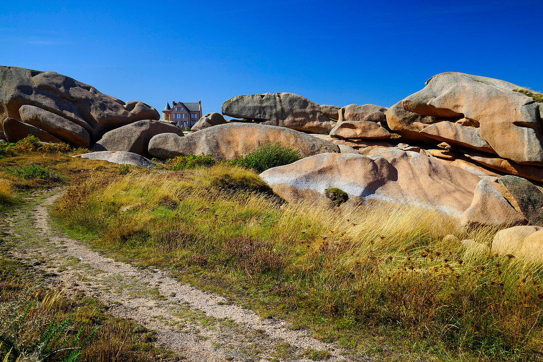 On the Cote de Granit Rose in the foreground, Brittany, France, Europe