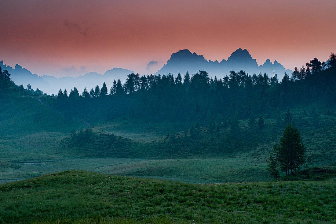 Sommer, Sonnenaufgang auf den Wiesen von Casera Feston, Karnische Alpen bei Sauris, Udine in der Region Friaul. Im Hintergrund der Mont Torondon. Italien