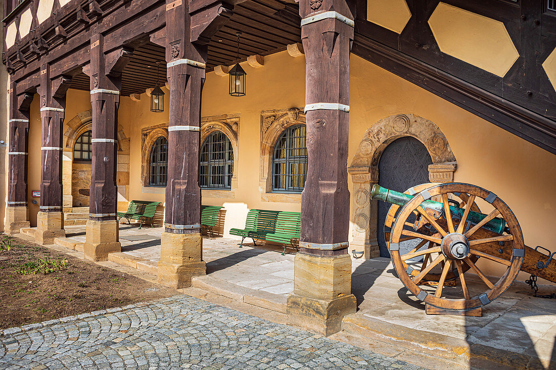 Inner courtyard of Veste Coburg, Coburg, Upper Franconia, Bavaria, Germany
