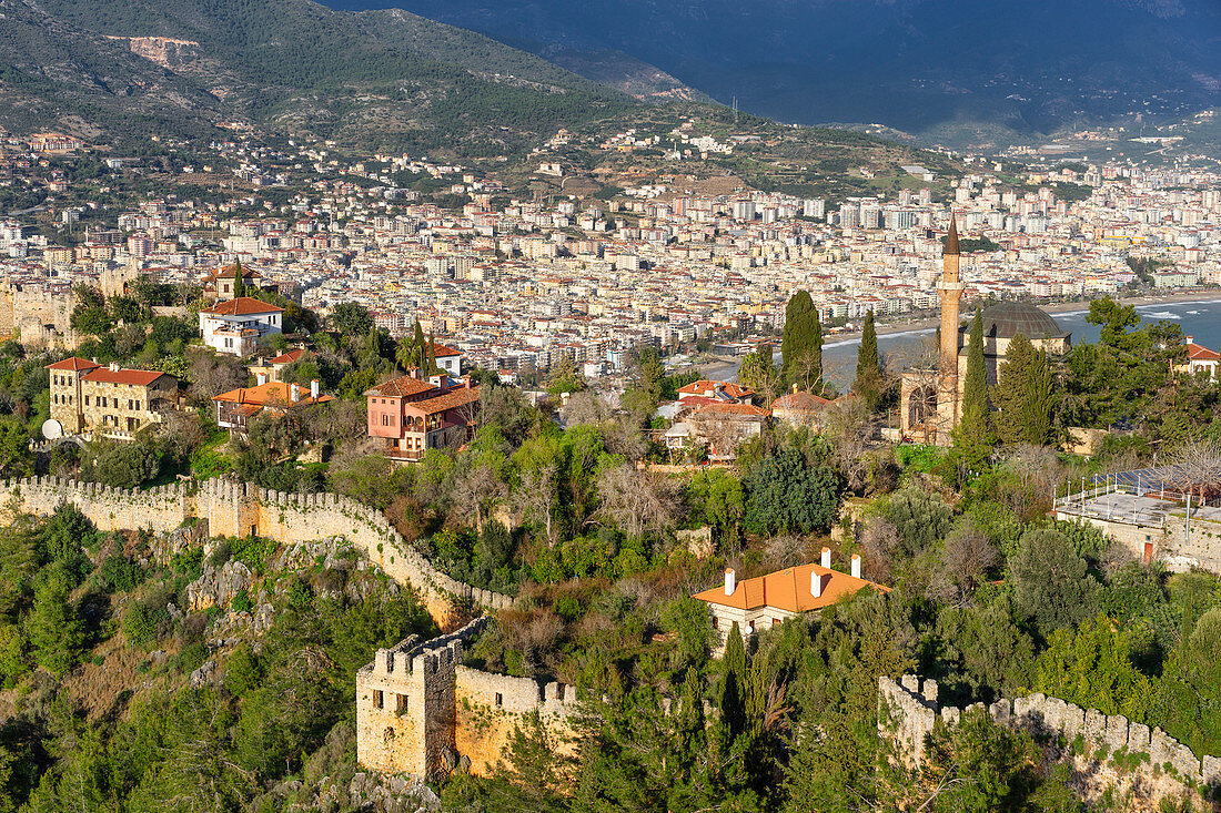 View from the castle hill to the city of Alanya, Turkish Riviera, Mediterranean region, Asia Minor, Turkey