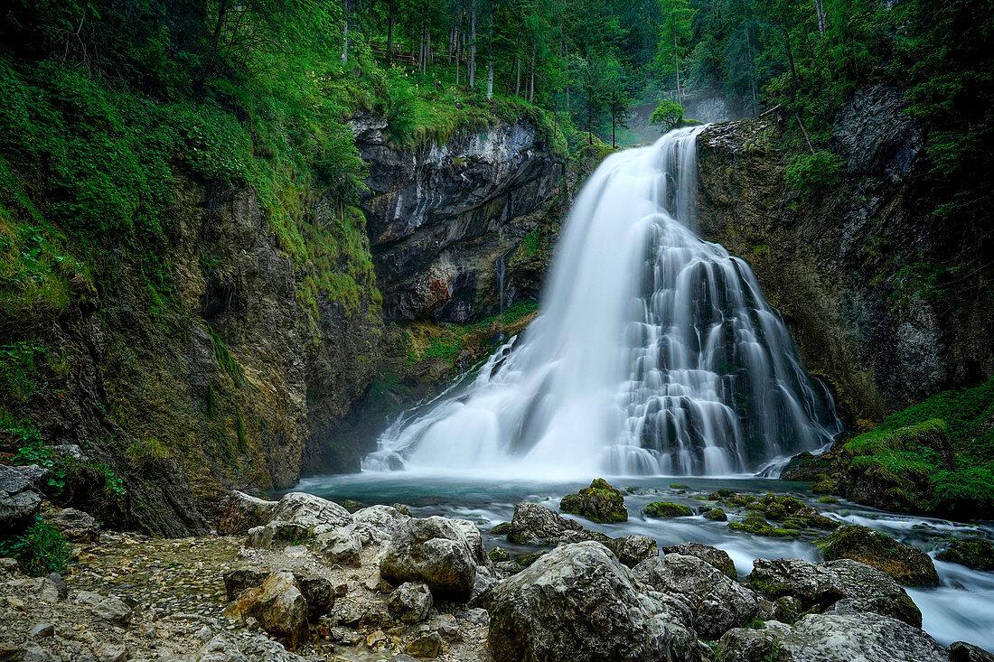 At the Gollinger waterfall, Salzburger Land, Austria, Europe