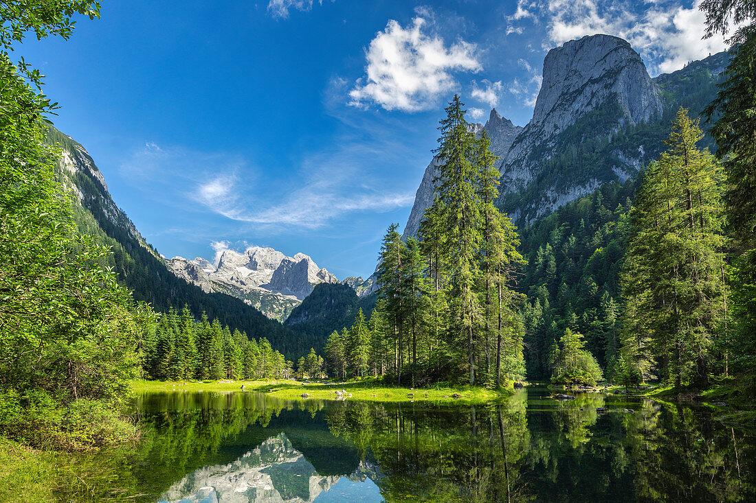 View over the Gosaulacke to the Dachstein, Gosau, Gosauseen, Upper Austria, Austria, Europe