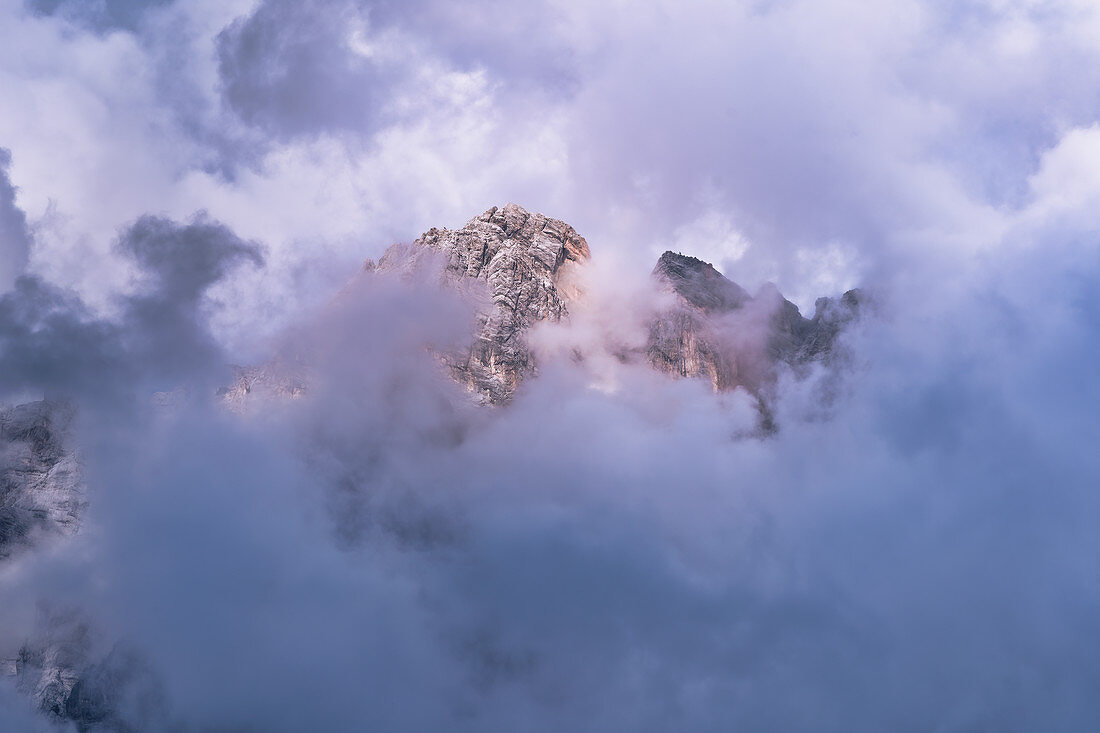 The Zugspitze in thick clouds, Ehrwald, Tyrol, Austria, Europe