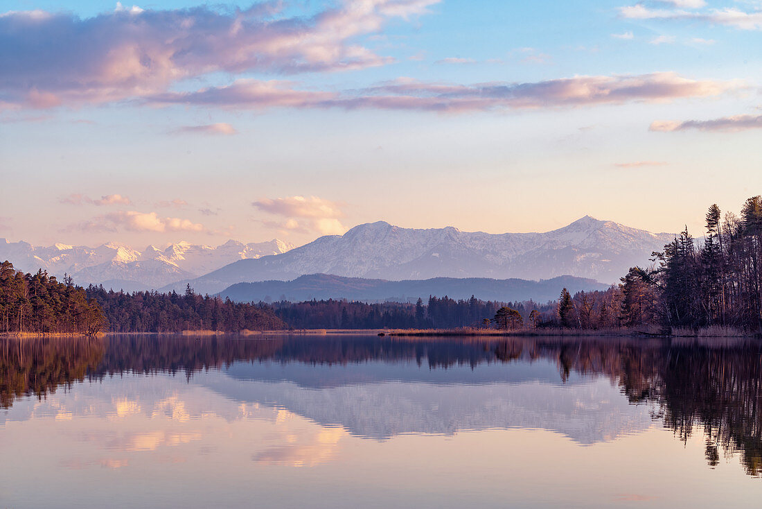 Evening mood in early spring at the Great Ostersee, Bavaria, Germany, Europe