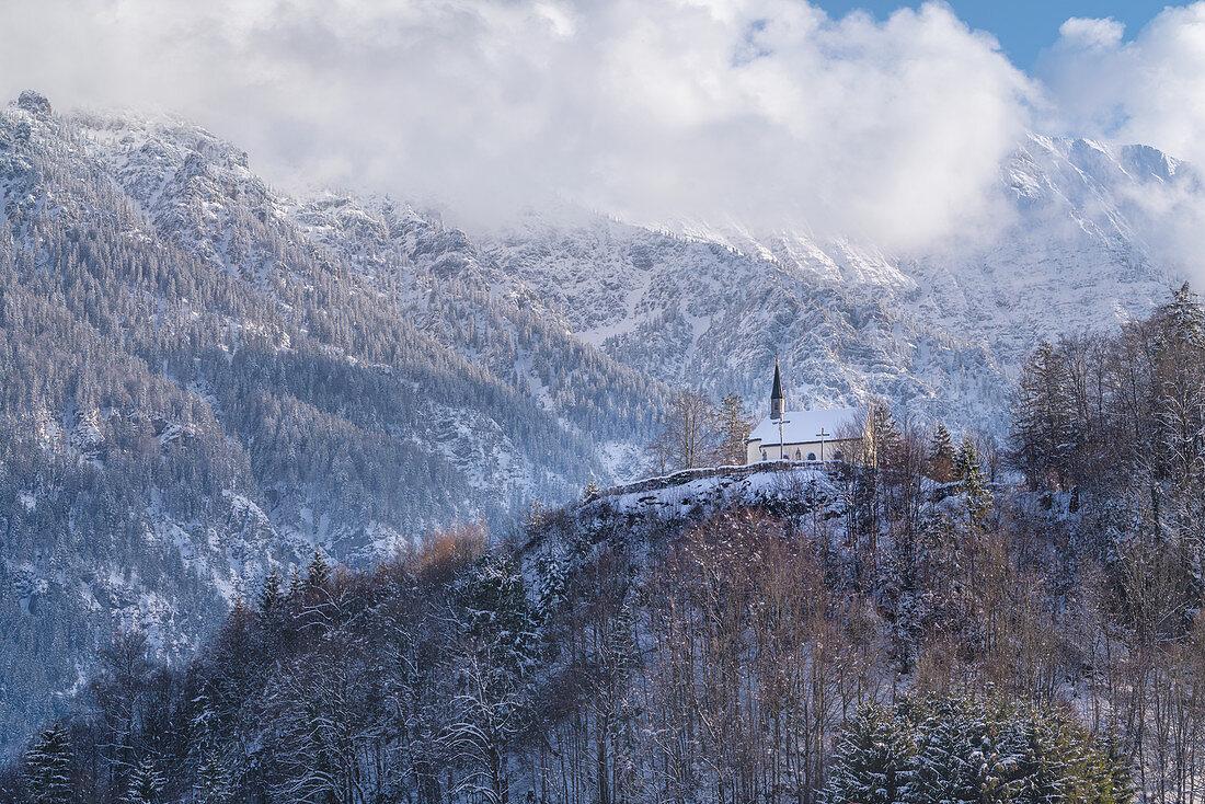 View of the wintry Kalvarienberg above Eschenlohe, Bavaria, Germany, Europe