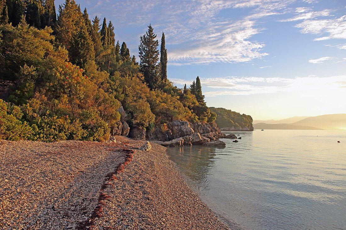 Sunrise at the small Agni Bay located on the northeast coast of the island of Corfu, Ionian Islands, Greece