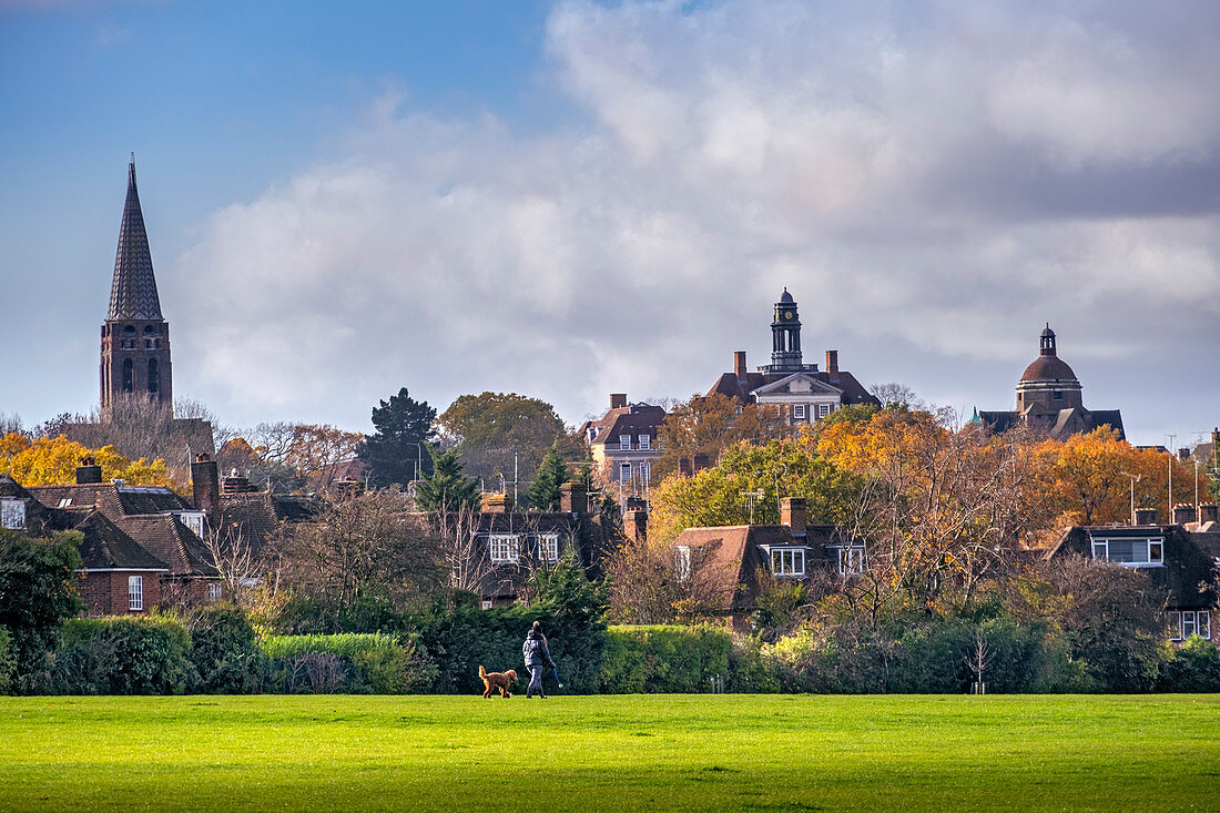 Hampstead Garden Suburb, skyline of the early 20th century suburb in autumn with spire of St. Jude's church and residential housing, Barnet, London, England, United Kingdom, Europe