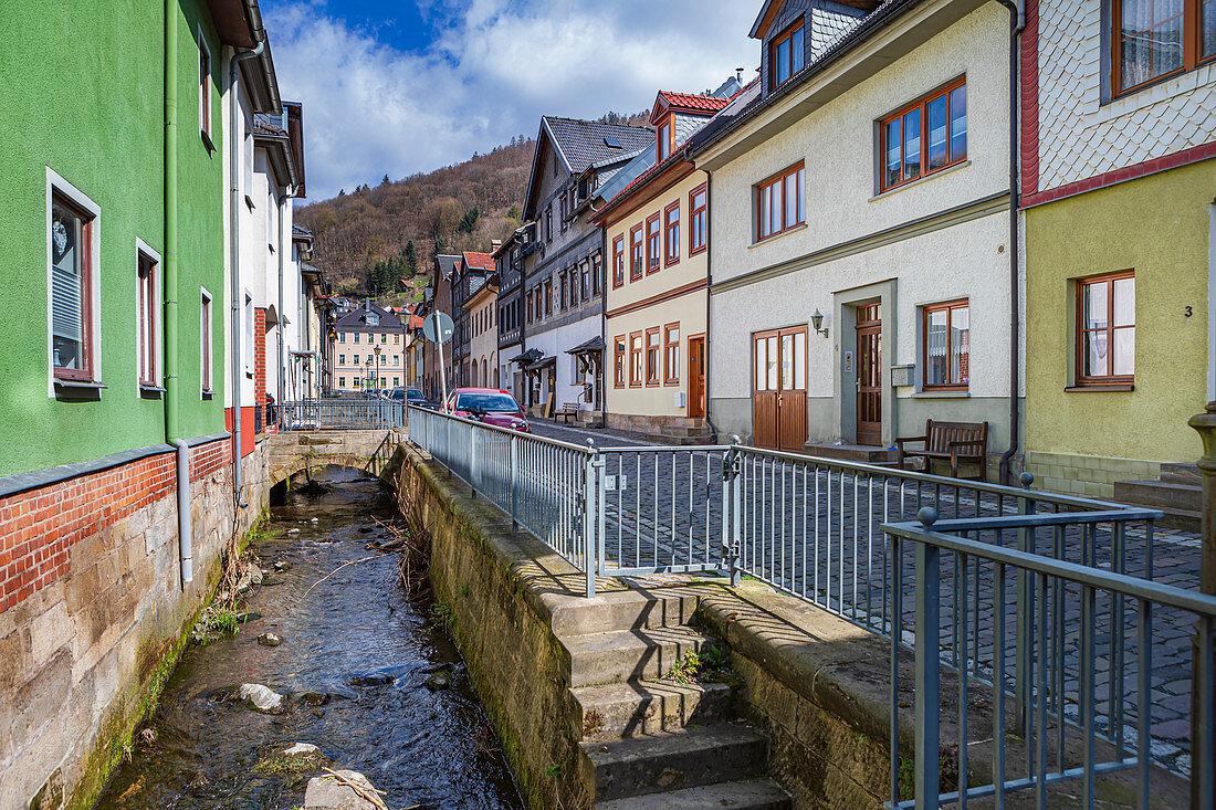 Schulstrasse in Sonneberg, Thuringia, Germany