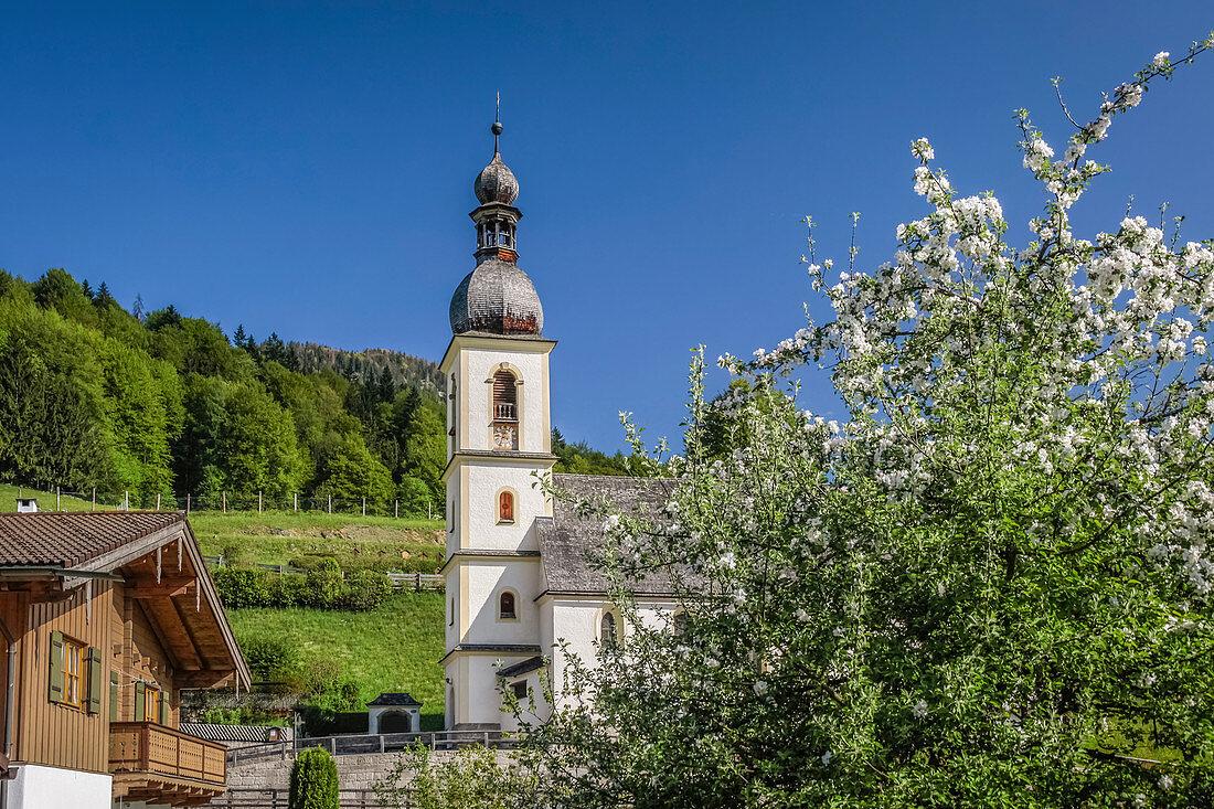 Parish Church of St. Sebastian in Ramsau, Upper Bavaria, Bavaria, Germany