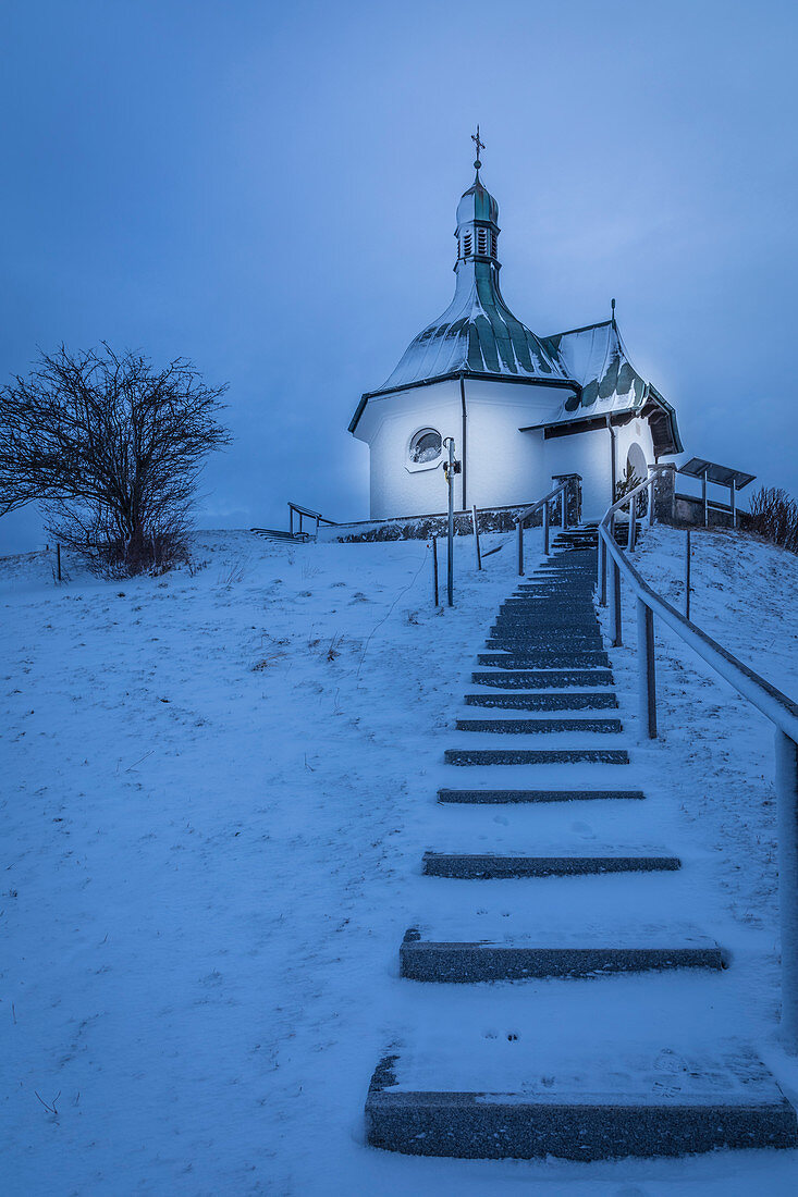 Staircase to the chapel on the Kapellenberg in Bad Bayersoien, Upper Bavaria, Bavaria, Germany