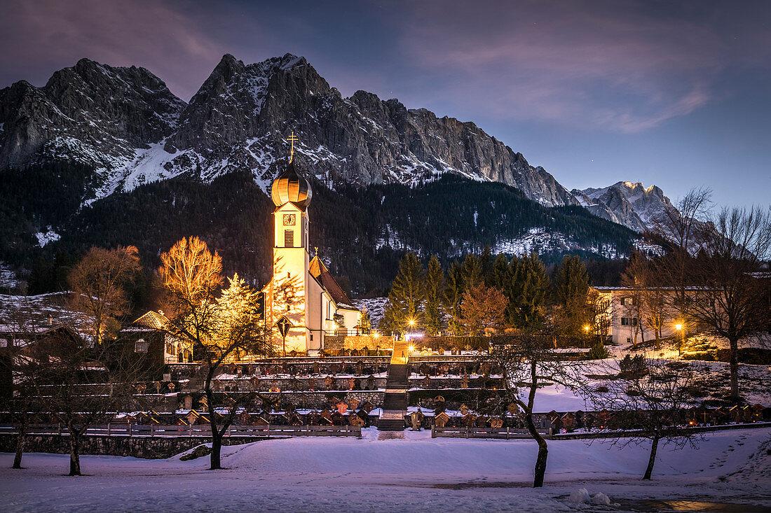 Church of St. John the Baptist in Grainau, Upper Bavaria, Bavaria, Germany