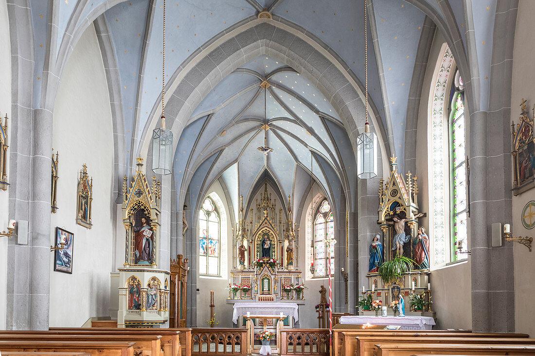 Altarraum der Wallfahrtskirche Maria Schnee in Kalkstein, Innervillgraten, Villgratental, Osttirol, Tirol, Österreich