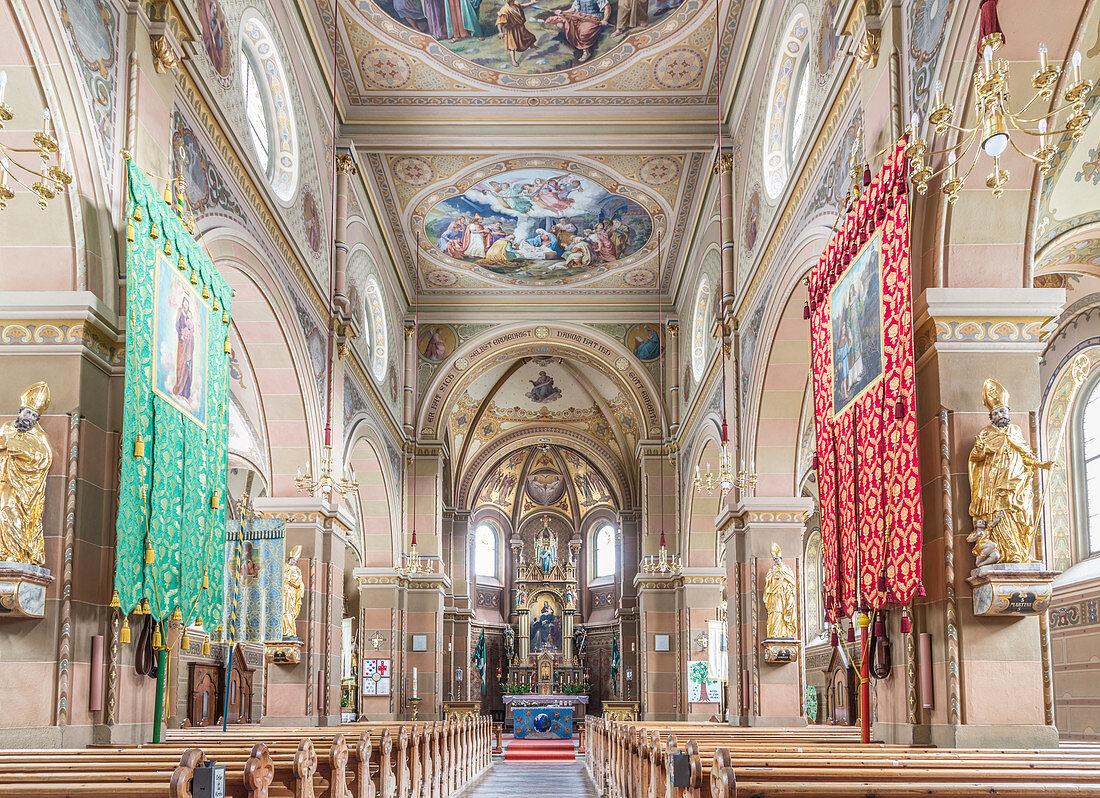 Interior of the parish church St. Martin in Innervillgraten, Villgratental, East Tyrol, Tyrol, Austria
