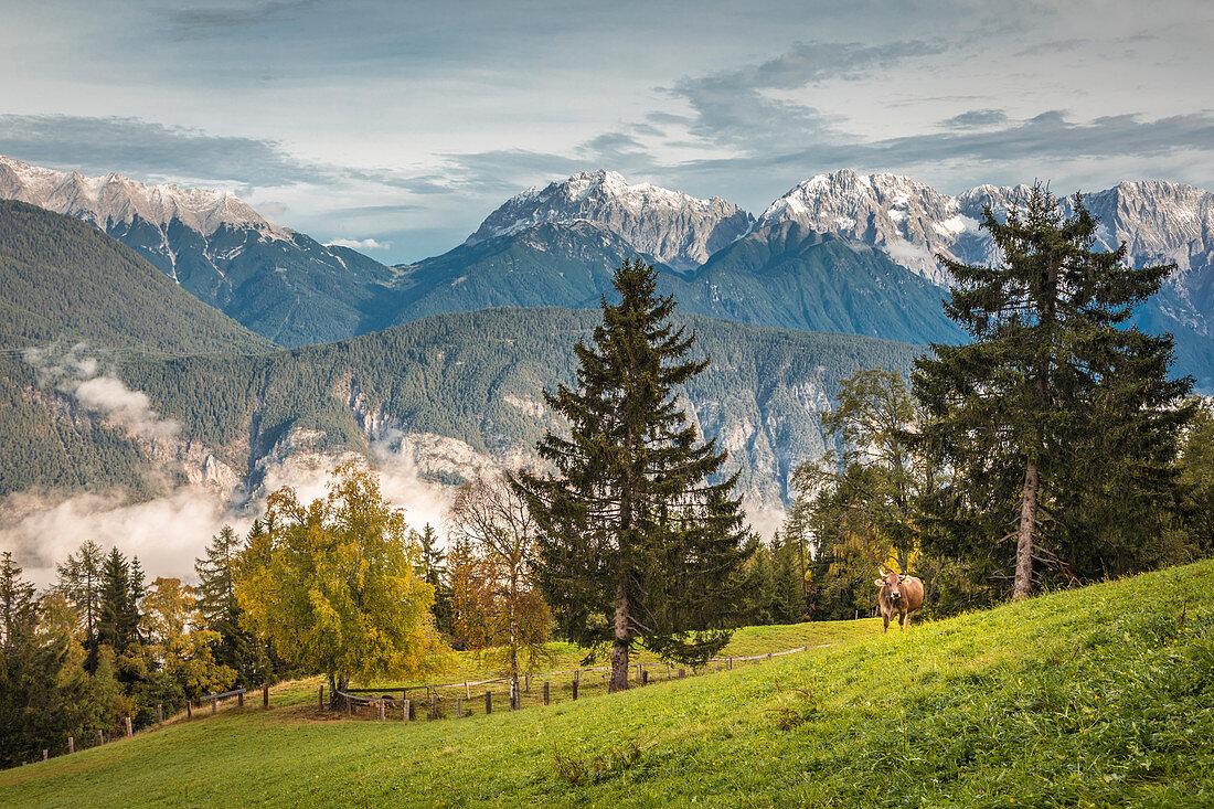 View from Haimingerberg into the Inn Valley, Tyrol, Austria