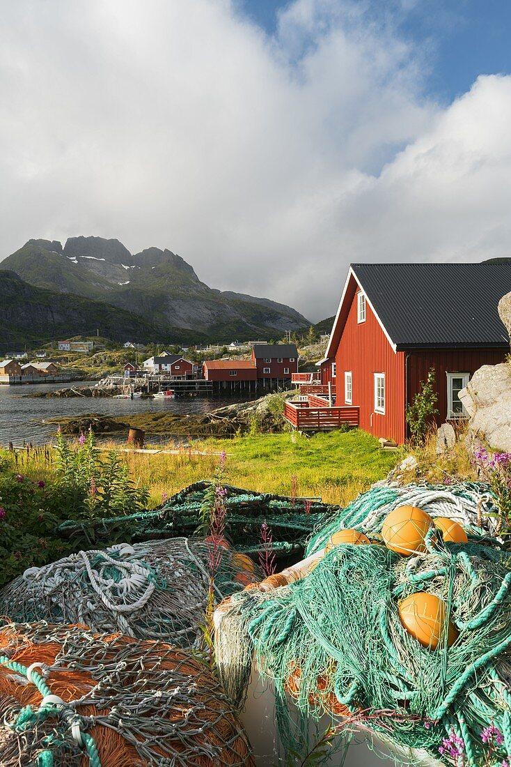 Fishing nets in Sorvagen, Moskenesoya, Lofoten, Nordland, Norway