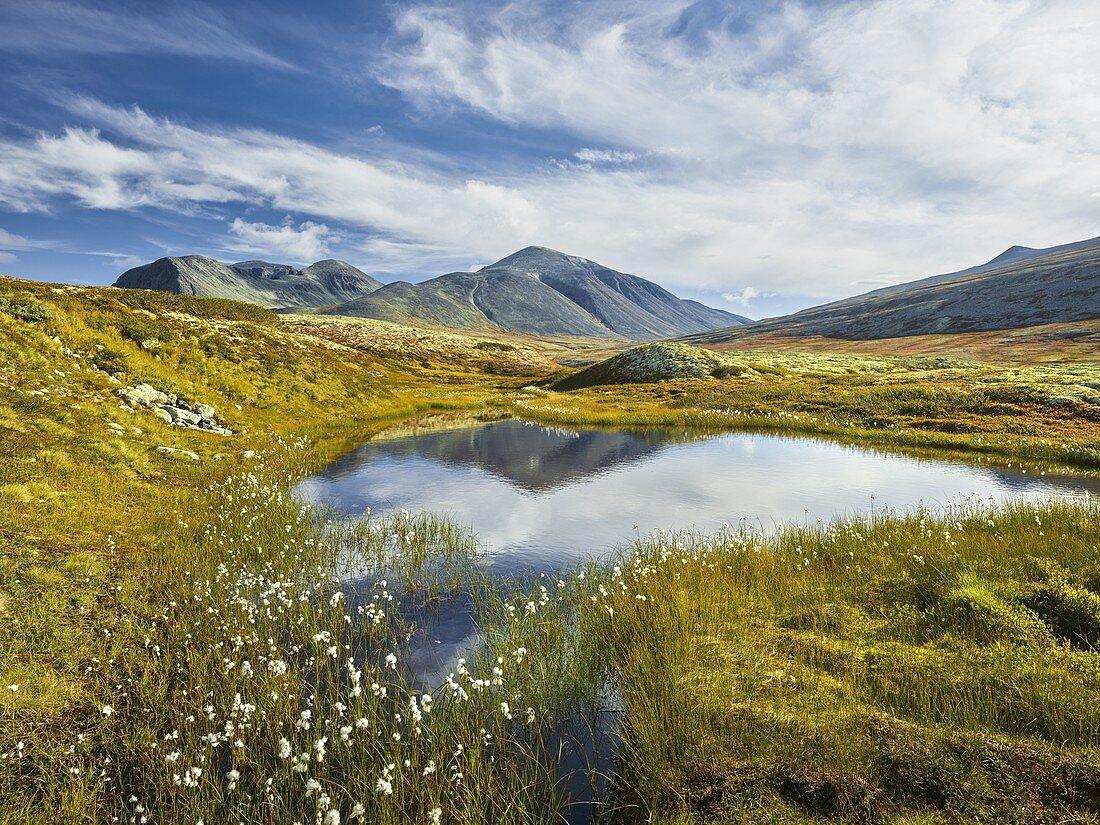 Nameless lake, Rondslottet, Storronden, Rondane National Park, Oppland, Norway
