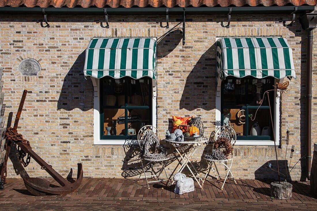 Handicrafts and souvenirs in front of shop, Hollum, Ameland, West Frisian Islands, Friesland, Netherlands, Europe
