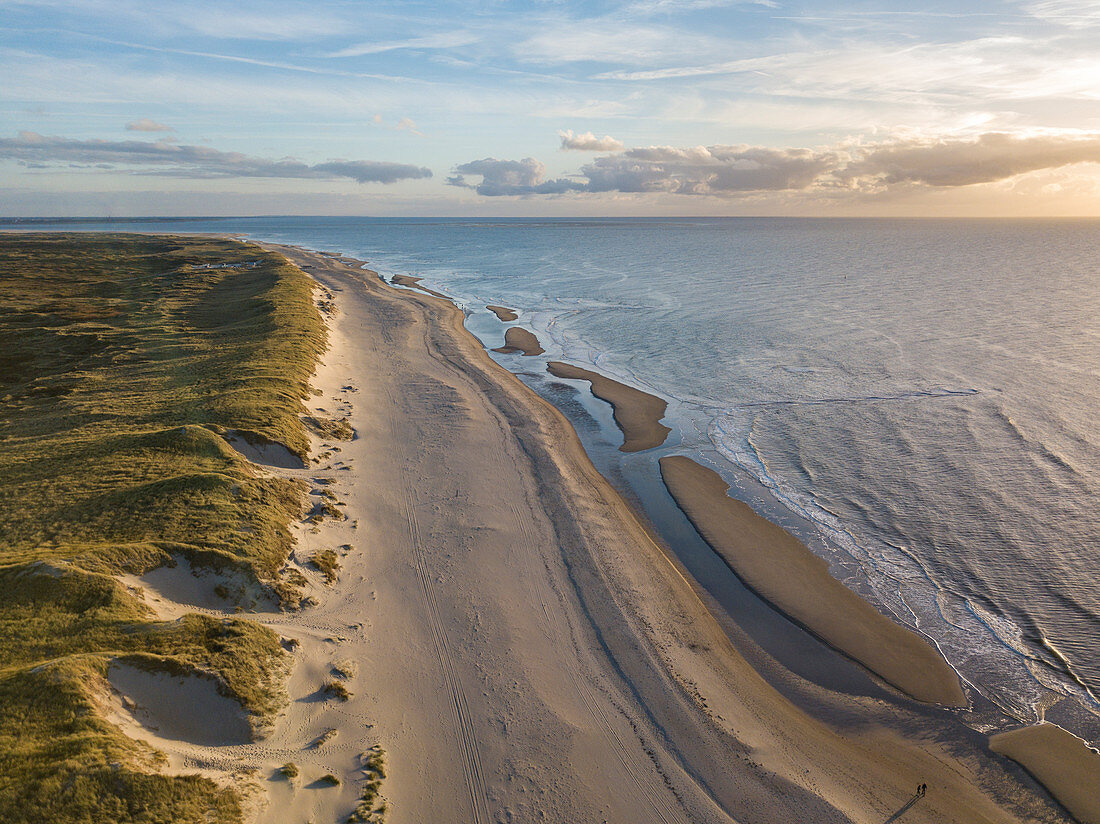 Aerial view of Westerduinen dunes, beach and North Sea coast, near Den Hoorn, Texel, West Frisian Islands, Friesland, Netherlands, Europe