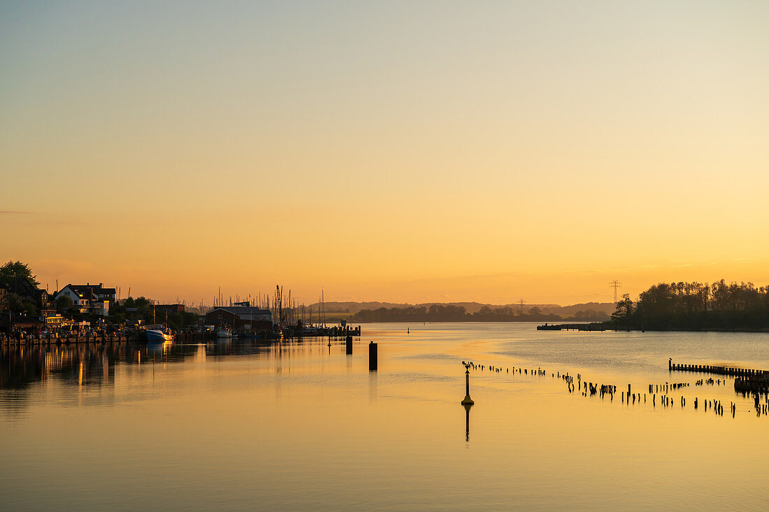 View of the herring fence in Kappeln in the morning, Kappeln, Schlei, fishing, Schleswig-Holstein, Germany