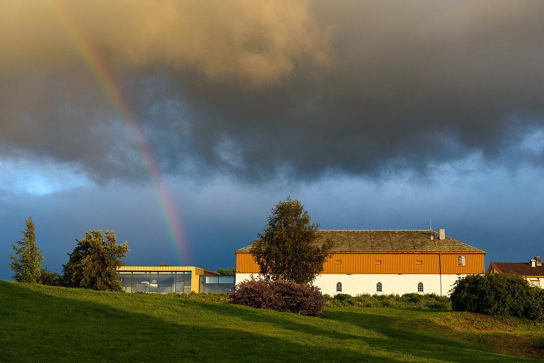Rainbow over Ringve Music Museum, Trondheim, Norway