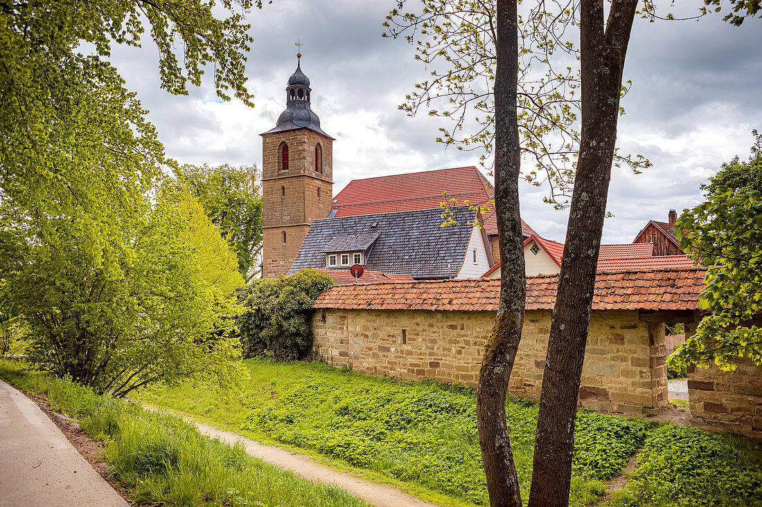 City wall and moat in Bad Rodach, Bavaria, Germany