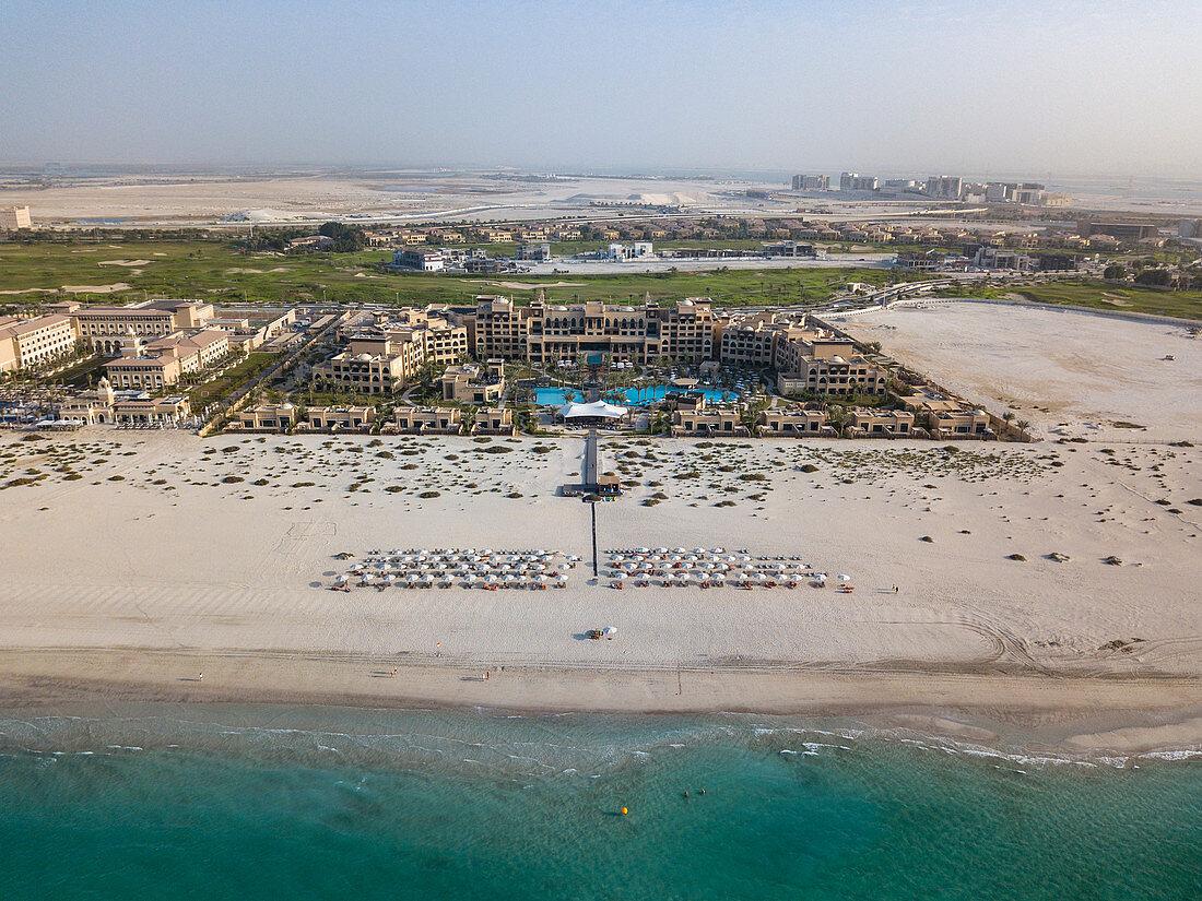 Aerial of Saadiyat Rotana Resort & Villas with beach and sea, Saadiyat Island, Abu Dhabi, United Arab Emirates, Middle East