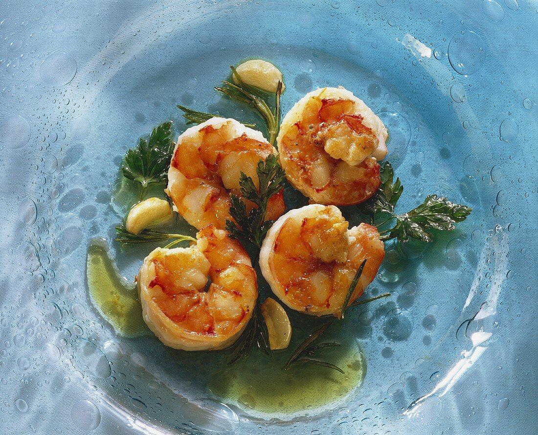 Gamberi aglio olio (shrimps with garlic and oil, Italy)