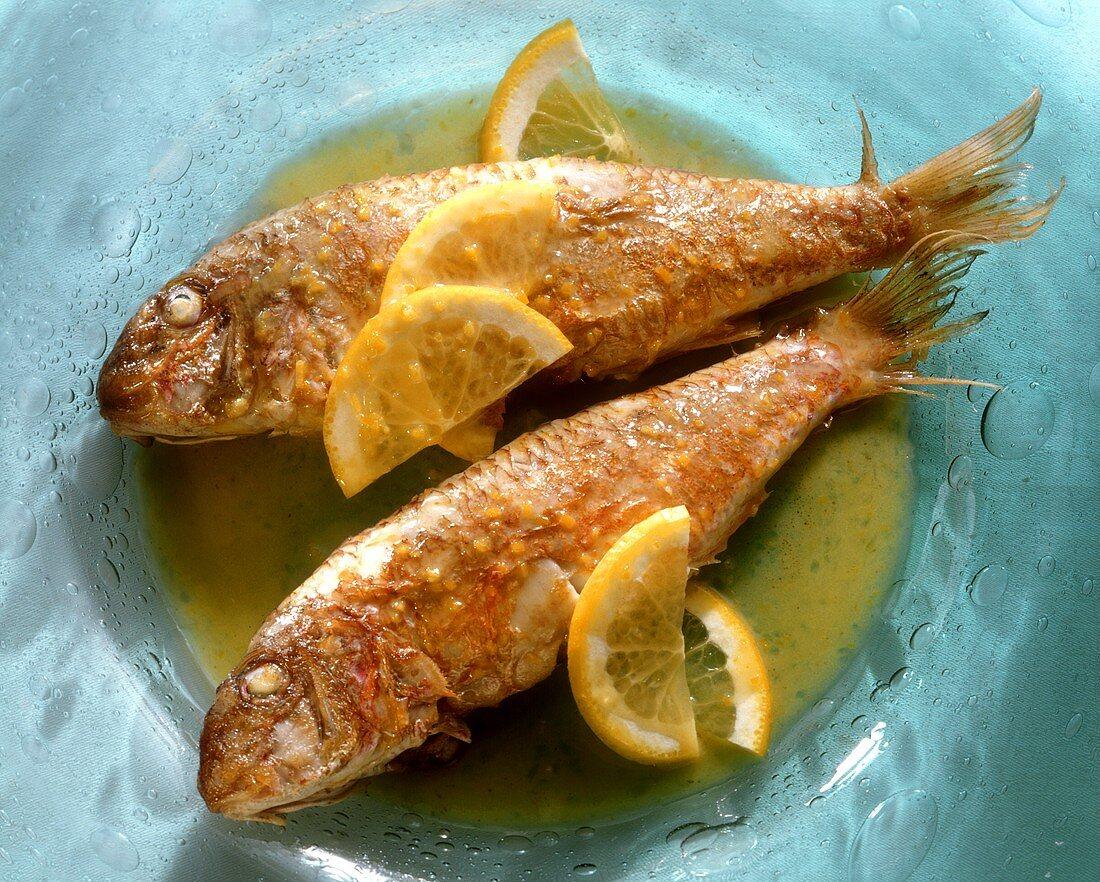 Triglie alla siciliana (Red mullet in lemon sauce, Italy)