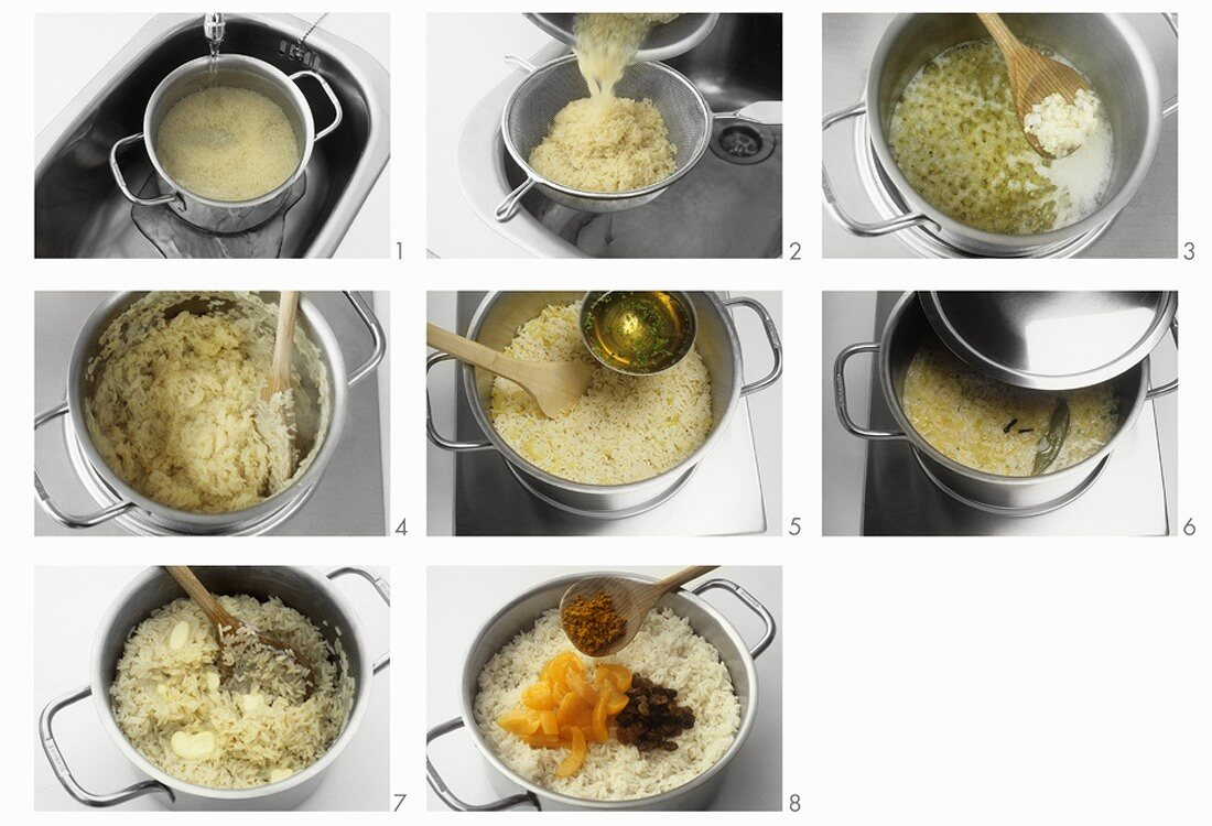 Cooking rice for pilaw