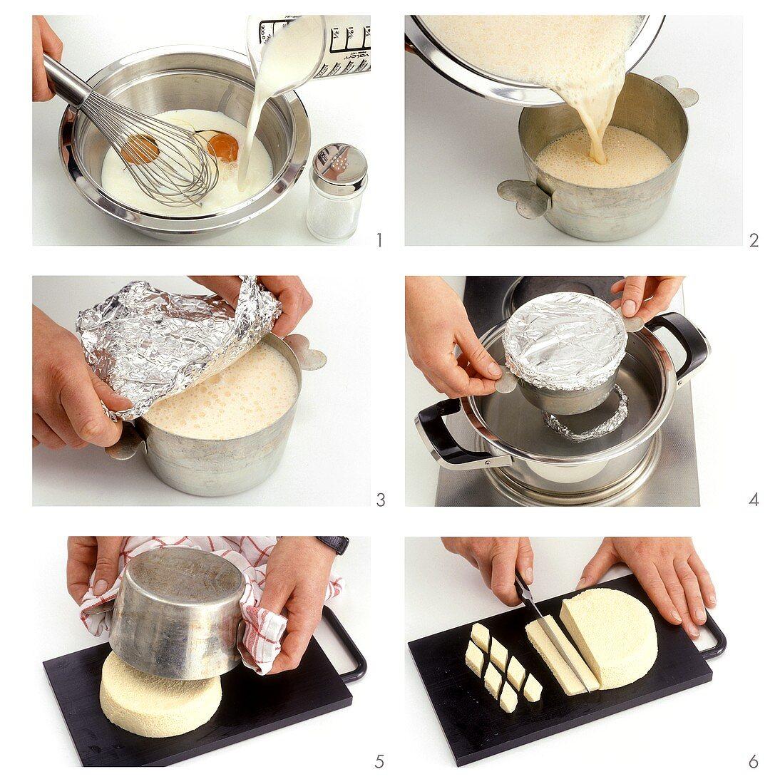 Making egg custard (soup garnish)