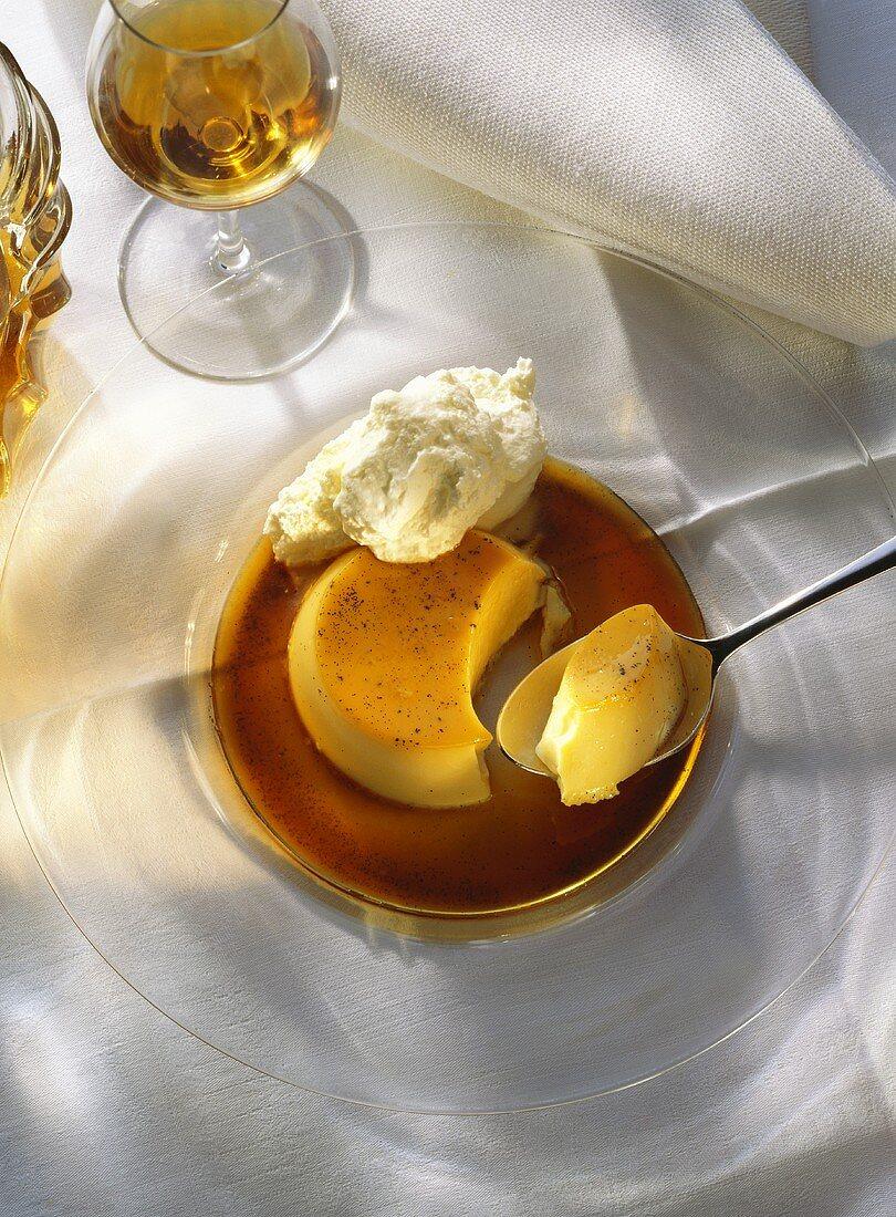 Creme Caramel on Glass Plate