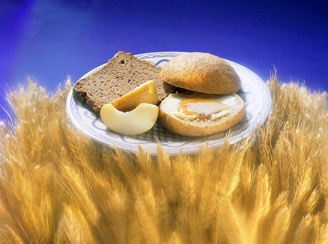 Slice of Whole Grain Bread and a Roll; Wheatfield