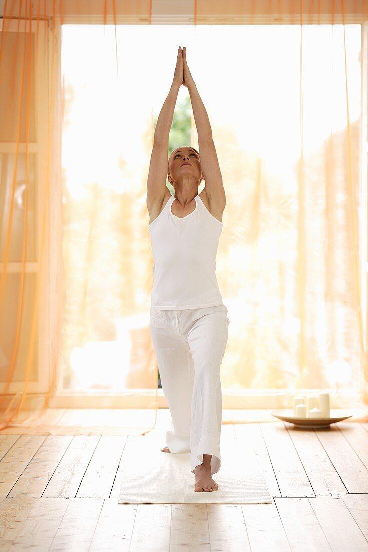 Yoga posture: Virabhadrasana (Warrior Pose)