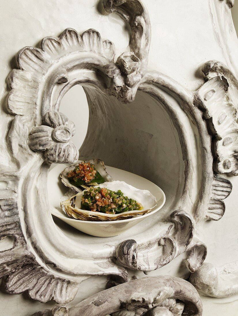 Spinach oysters with a shallot vinaigrette