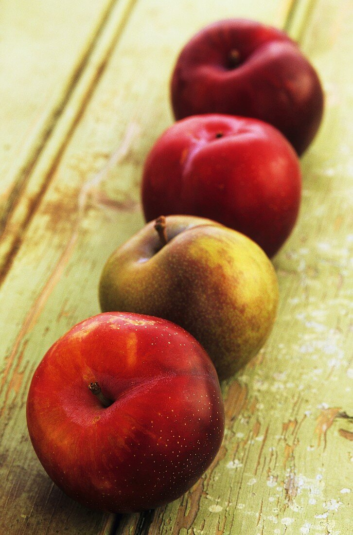 A row of plums on a wooden surface