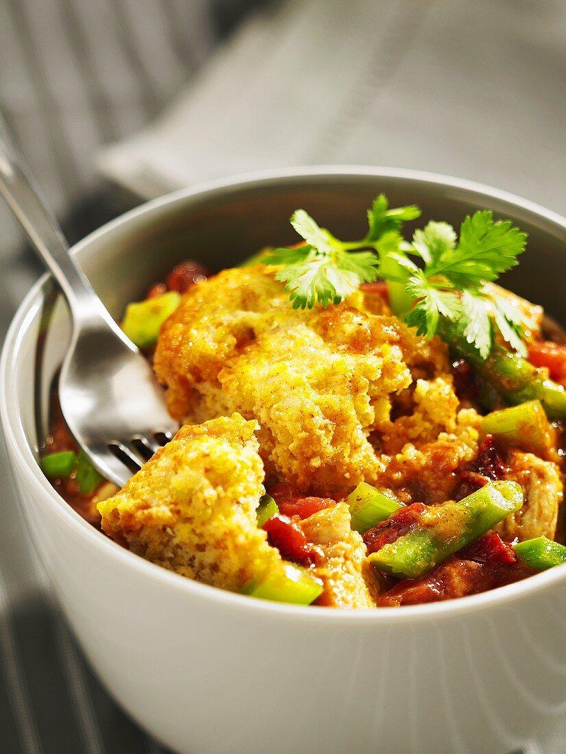 Turkey casserole with vegetables and cornbread dumplings