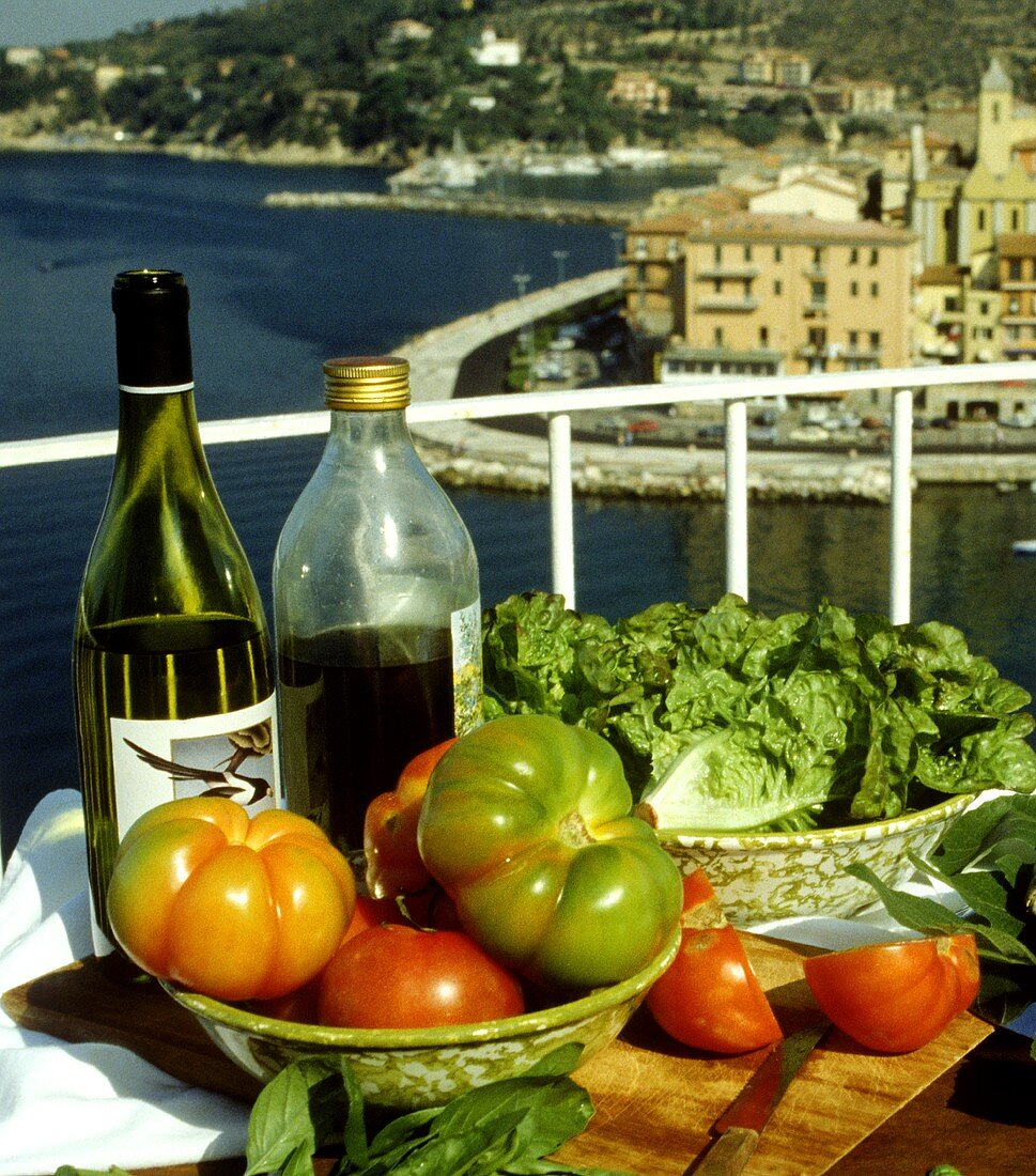 Still life with fish and tomatoes; balcony; Italy