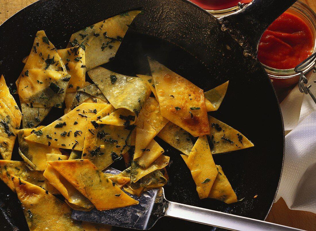 Nettle Fleckerl Pasta in a Cast-Iron Frying Pan