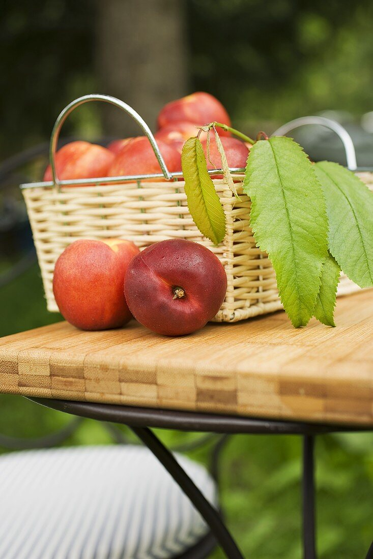 Nectarines with leaves in basket on table in the open air