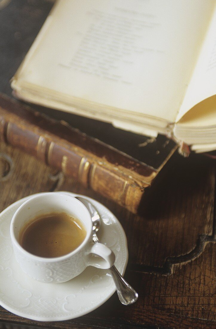 'Pushkin coffee' with vodka, beside old books