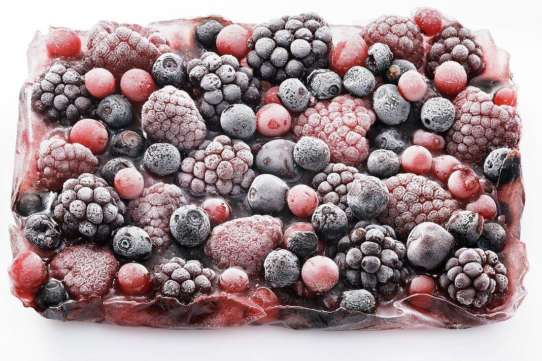 Frozen berries in a block of ice