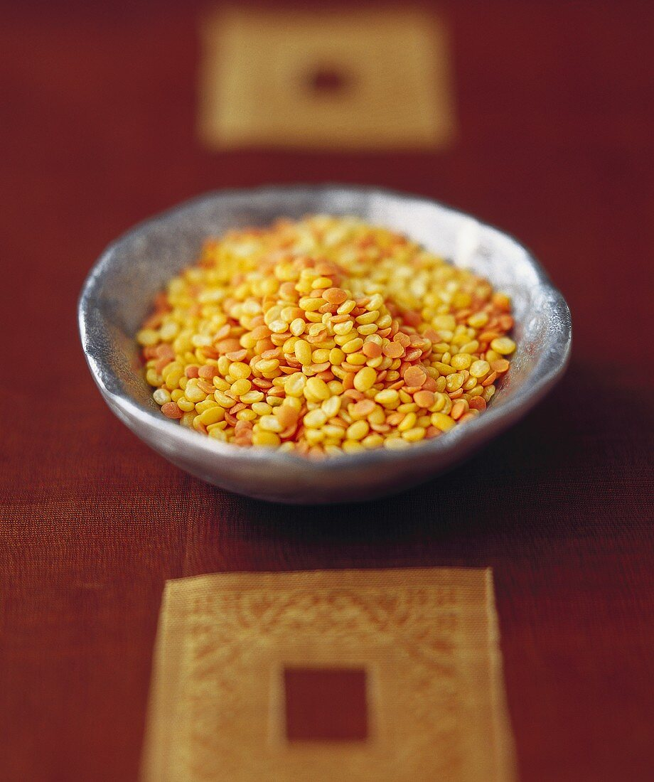 Red lentils in a bowl