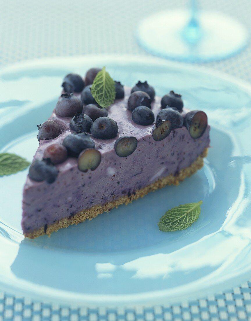 A piece of blueberry cake